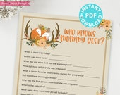 Woodland Theme Who Knows Mommy Best Baby Shower Game Printable, Rustic Forest Animals Baby Shower Game Template, INSTANT DOWNLOAD