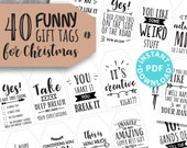 40 Funny Christmas Gift Tags Printable, White Elephant, Rustic Style Gift Tags, Sweet, Sarcastic, Clean, Unique Gift Tags, INSTANT DOWNLOAD