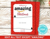 "EDITABLE Amazon Gift Card Holder Christmas Printable Template, 5""x7"", Christmas appreciation, Teacher, Neighbor, Dots, INSTANT DOWNLOAD"
