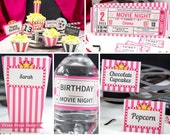 Movie Party Decor Printables PINK, Movie Night Invitation, Birthday Party Package, Movie Night Sign, Popcorn Box, Toppers, INSTANT DOWNLOAD