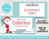 EDITABLE Christmas Coupon Book Printable Template, From Santa Gift Idea, Blank Coupons, diy Last Minute Gift Stocking, INSTANT DOWNLOAD