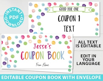 Birthday Coupons Book Printable, Personalized Gift Idea, Confetti Editable Blank Coupon Book, DIY Last Minute Gift, INSTANT DOWNLOAD