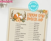 Woodland Theme Candy Bar Game Baby Shower Printable, Baby Shower Game Template, Forest Animals, Activities, Rustic, Fox, INSTANT DOWNLOAD