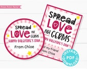Spread Love Not Germs Kids Valentine Card Printable, Gift Tag For Friend, School, Teacher Valentine, Hand Sanitizer INSTANT Digital DOWNLOAD