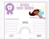 Baby Teeth Chart with the Tooth Fairy Printable, Purple Lost Tooth Tracker, Editable and Customizable, Black Tooth Fairy , INSTANT DOWNLOAD