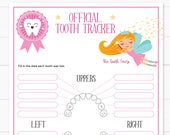 Baby Teeth Chart with the Tooth Fairy Printable, Tooth Tracker, Editable and Customizable, Tooth Fairy for girls, INSTANT DOWNLOAD
