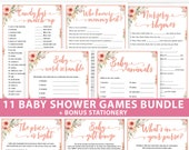 Baby Shower Games Bundle Printable, Peach Flowers, Games Pack, Unique Baby Shower Games, Funny Activities, Girl, Bingo, INSTANT DOWNLOAD
