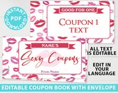 Love Coupons Book Template Valentine's Day Gift, Printable Sexy Book DIY, For Husband, Wife, Custom Gift Idea, Editable, INSTANT DOWNLOAD