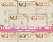 Woodland Baby Shower Games Printable Pack, Games Bundle, Woodland Theme Forest Animals, Activities, Girl, Boy, Fox, Deer, INSTANT DOWNLOAD