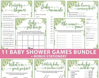 Eucalyptus Baby Shower Games Bundle Printable, Games Pack, Unique Baby Shower Games, Funny Activities, Girl, Boy, Bingo, INSTANT DOWNLOAD