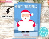 "EDITABLE Christmas Gift Card Holder Printable Template, 5""x7"", Merry Christmas, Smiling Santa, Edit Holiday & Name, INSTANT DOWNLOAD"