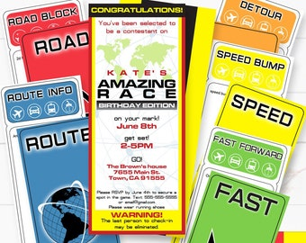 The Amazing Race Party Printable Invitation and Clue Cards,Editable, Route Marker, INSTANT DOWNLOAD
