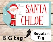BIG Christmas Gift Tag From Santa, Santa Labels, Editable Printable Template, 9x5, Perfect For Big Gifts, Edit text, INSTANT DOWNLOAD