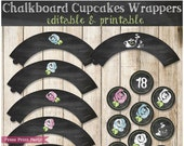 Chalkboard Cupcake Wrappers and Toppers - Editable & Printable - Tea Party, Baby Shower or Bridal Shower - INSTANT download