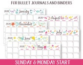 2020 Monthly Calendar Template Printables, Whimsy, Bullet Journal, Binder, Monthly Planner, Sunday & Monday Start, INSTANT DOWNLOAD