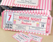 Movie Ticket Invitation and Decorations Printable set RED vintage, Movie Night Invitation, Birthday Party Decor Templates, INSTANT DOWNLOAD