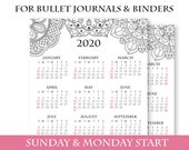 2020 Calendar Template Printable, Mandala, Bullet Journal Printable, Binder, Yearly Planner, Supplies, Yearly Calendar, INSTANT DOWNLOAD
