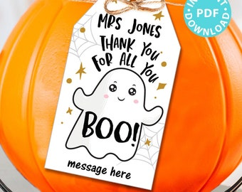 EDITABLE Halloween Tag Printable, Thanks for all you Boo, Teacher Appreciation Halloween Favors, Thank You Goodie Bag, INSTANT DOWNLOAD