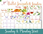 2020 Monthly Calendar Template Printables, Watercolor, Bullet Journal, Binder, Monthly Planner, Sunday & Monday Start, INSTANT DOWNLOAD