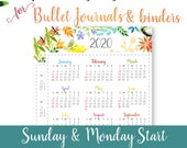 2020 Calendar Template Printable, Watercolor, Bullet Journal Printable, Binder, yearly Planner, Supplies, Yearly Calendar, INSTANT DOWNLOAD