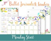 MONDAY Start - 2020 Calendar Template Printable Set, Watercolor, Bullet Journal Printable, Monthly Planner, Daily Routine, INSTANT DOWNLOAD