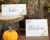 Thanksgiving Place Cards Printable, Green Pumpkin Printable Placecard, Farmhouse Decor, Rustic, Fall Table Setting Ideas, INSTANT DOWNLOAD