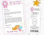 Editable Tooth Fairy Letter & Receipt Printable, Tooth Fairy Envelope, Lost tooth Tooth Fairy for girls, INSTANT DOWNLOAD