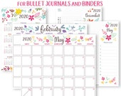 2020 Calendar Template Printable Set, Whimsy, Bullet Journal Printable, Binder, Monthly Planner, Daily Routine, Supplies, INSTANT DOWNLOAD