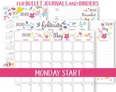 MONDAY Start, 2020 Calendar Template Printable Set, Whimsy, Bullet Journal, Binder, Monthly Planner, Daily Routine,INSTANT DOWNLOAD
