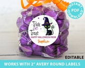 "Halloween Labels Printable Avery 2"" Round Labels Customizable with Editable text, Halloween treat sticker, Cat Design, INSTANT DOWNLOAD"