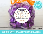 "Halloween Labels Printable Avery 2"" Round Labels Customizable with Editable text, Halloween treat sticker, Bat and Candy, INSTANT DOWNLOAD"