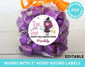"Halloween Labels Printable Avery 2"" Round Labels Customizable with Editable text, Halloween treat sticker, Purple Witch, INSTANT DOWNLOAD"