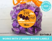 "Halloween Labels Printable Avery 2"" Round Labels Customizable with Editable text, Halloween treat sticker, Bat Design, INSTANT DOWNLOAD"