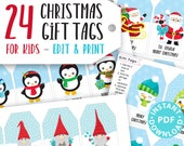 24 Kids Christmas Gift Tags Printable, Santa Claus, Snowman, Penguins, Woodland Animals, Beach Santa, Gnomes, Template, INSTANT DOWNLOAD