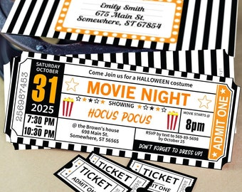Halloween Movie Night Invitation Printables, Orange and Black Ticket Template, Ticket stub for Halloween Party Invite, INSTANT DOWNLOAD