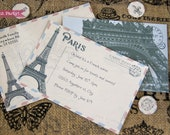 Paris Invitation Printable, Paris Postcard, Envelope Printable, Paris Theme Party, French Vintage, Paris Party Invitation, INSTANT DOWNLOAD