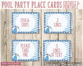 Pool Party, Printable Place Cards, Beach Ball tent card, Pool Party Decorations, Pool Party Birthday Decor, Swimming Pool Birthday