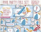 Pool Party Birthday Decor, Swimming Pool Birthday, Pool Party Decorations, Pool Party Invitation for Kids, Swimming Party, Beach Ball Party