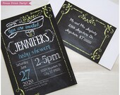Boy Baby Shower Invitation - Chalkboard Invitation - with Envelope label - INSTANT Download - Editable & Printable