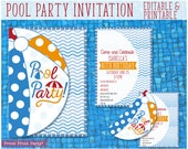 Pool Party Invitation for Kids, Splish splash, Beach Ball Invitation, Swimming Pool Birthday, Pool Party Birthday Decor