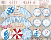 Pool Party cupcake set - Beach Ball Printable Cupcake Wrapper and Toppers - Pool Party Birthday Decorations
