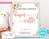 Diaper Raffle Tickets and Sign Printable, Baby Shower Game Template, Peach Flowers, Baby Shower Activity, Frame, Baby Girl, INSTANT DOWNLOAD