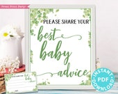 Eucalyptus Mom Advice Card & Sign Printable, Best Baby Advice for Mom, Baby Shower Game Template, Rustic, Frame, New Mom, INSTANT DOWNLOAD