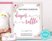 Diaper Raffle Tickets and Sign Printable, Baby Shower Game Template, Pink Flowers, Baby Shower Activity, Frame, Baby Girl, INSTANT DOWNLOAD