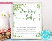 Eucalyptus Don't Say Baby Sign Printable, Baby Shower Game Template, Funny Baby Shower Activities, Frame or Fold, Green, INSTANT DOWNLOAD