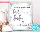 Mom Advice Card and Sign Printable, Best Baby Advice for Mom, Greenery & Purple Baby Shower Game Template, Frame, New Mom, INSTANT DOWNLOAD