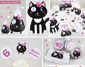 Kitten Party Printables, Cat Party Decorations, Cat birthday, Kitty Cat Invitation, Black and White Cat, Girls Birthday Party Idea, Girl Cat