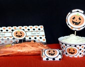 Halloween printable Cupcake wrappers and gift bag handles - DIY Party Supplies and Decorations - INSTANT DOWNLOAD pdf