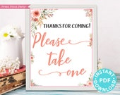 Please Take One Sign Printable, Baby Shower, Wedding, Bridal Shower Favors Sign, Birthday, Template, Rustic, Frame, Peach, INSTANT DOWNLOAD