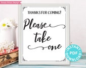 Please Take One Sign Printable, Baby Shower, Wedding, Bridal Shower Favors Sign, Birthday, Template, Rustic, Frame or Fold, INSTANT DOWNLOAD